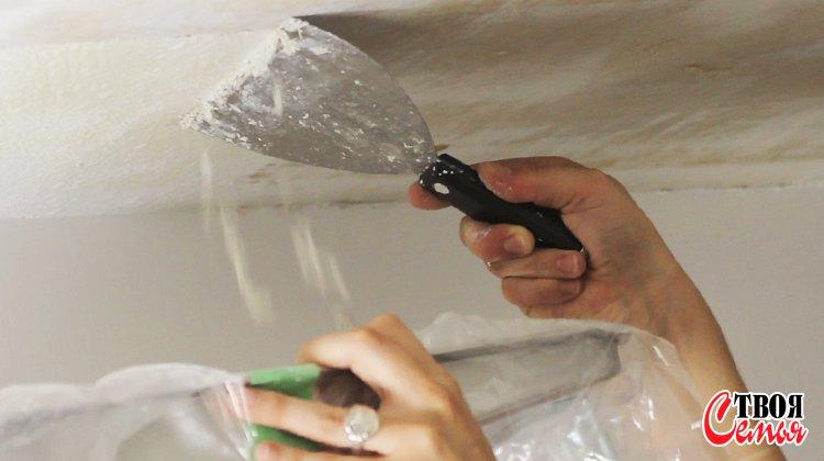 Изображение для статьи — Как очистить потолок или стены от побелки?